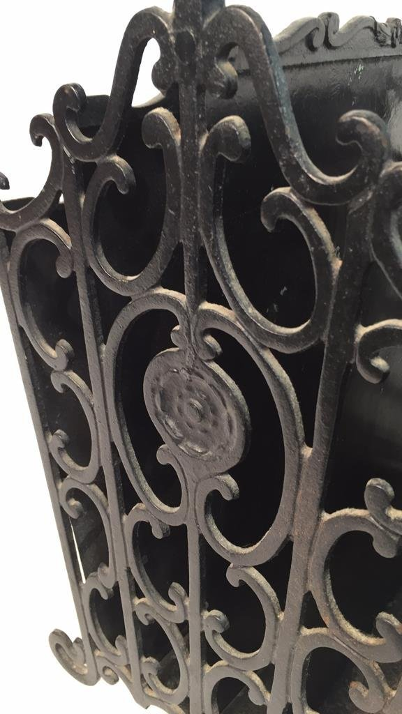 Antique Wrought Iron Metal Magazine Rack - 8