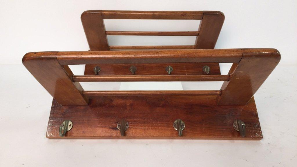 Pair Vintage Hooks and Hat Shelf
