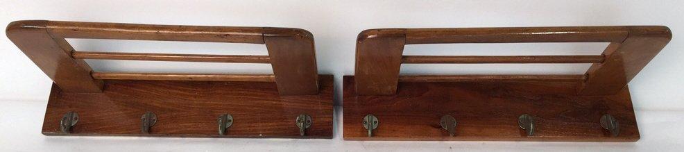 Pair Vintage Hooks and Hat Shelf - 2