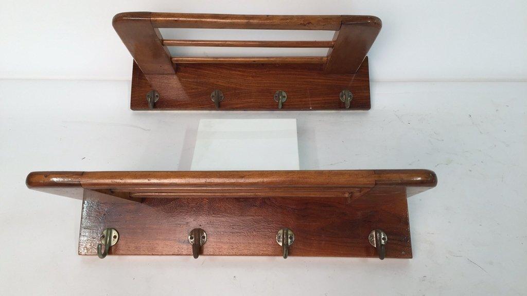 Pair Vintage Hooks and Hat Shelf - 3