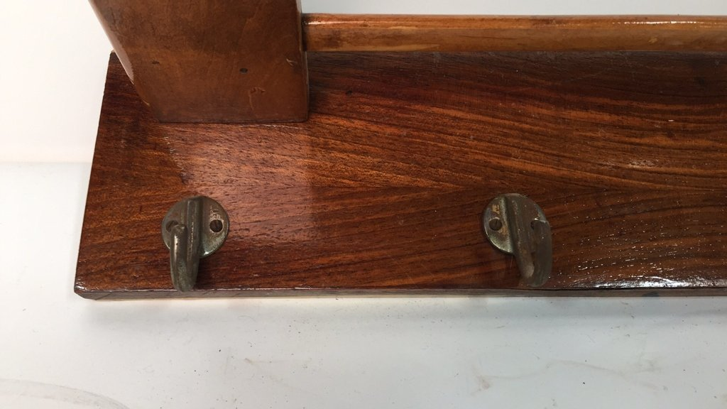 Pair Vintage Hooks and Hat Shelf - 4