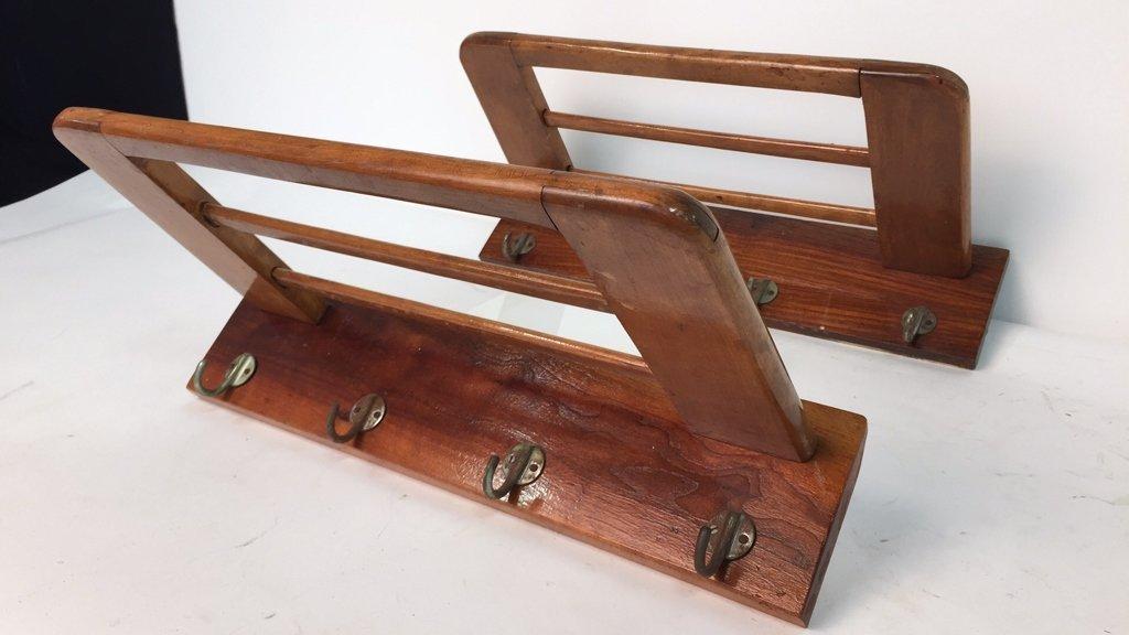 Pair Vintage Hooks and Hat Shelf - 6