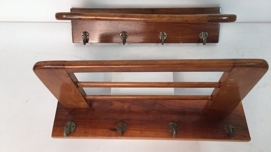 Pair Vintage Hooks and Hat Shelf - 8