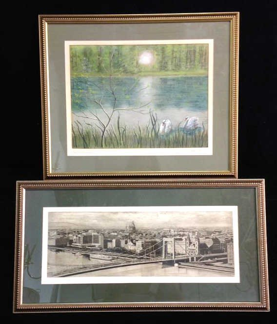 2 Professionally Framed & Matted Signed Art