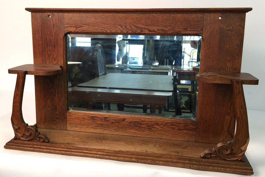 Vintage Oak Mantle Mirror with Shelves