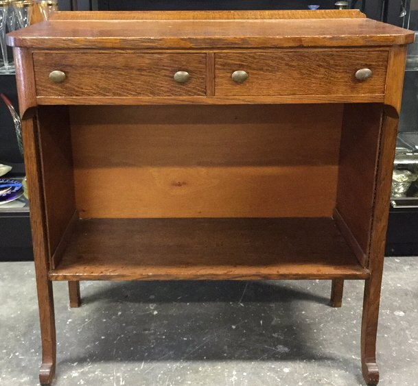 Oak Stained Console Table Two Drawers