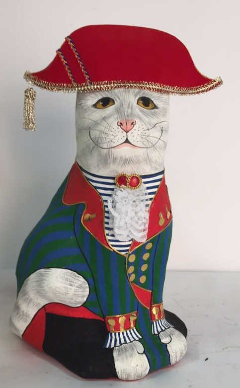 Hand Painted In Thailand Paper Mache Cat