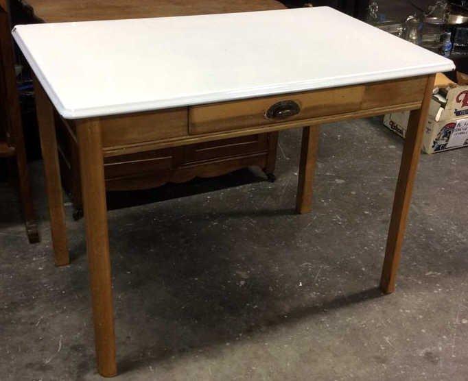 2x Four Legged Enamel Glazed Wooden Tables - 2