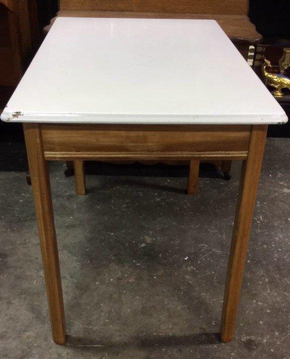 2x Four Legged Enamel Glazed Wooden Tables - 3