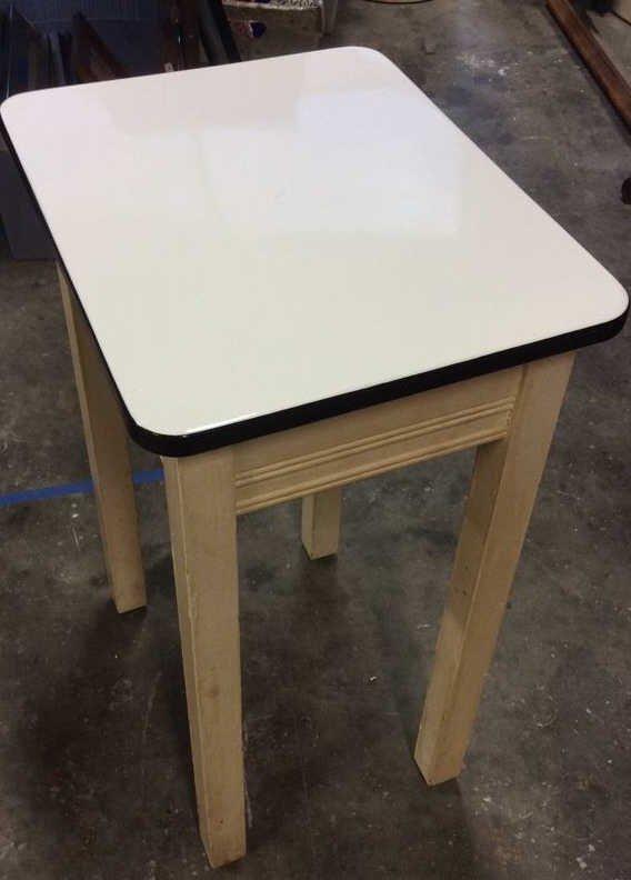 2x Four Legged Enamel Glazed Wooden Tables - 5