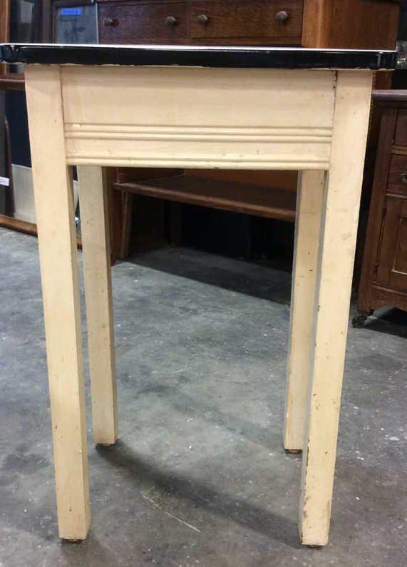 2x Four Legged Enamel Glazed Wooden Tables - 7