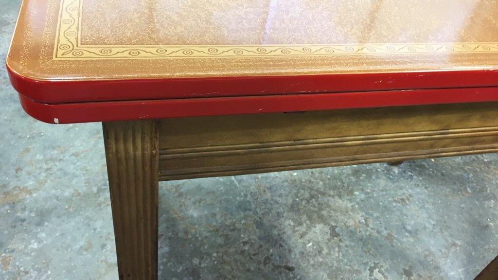 Vintage Kitchen Table Straight Legs - 8