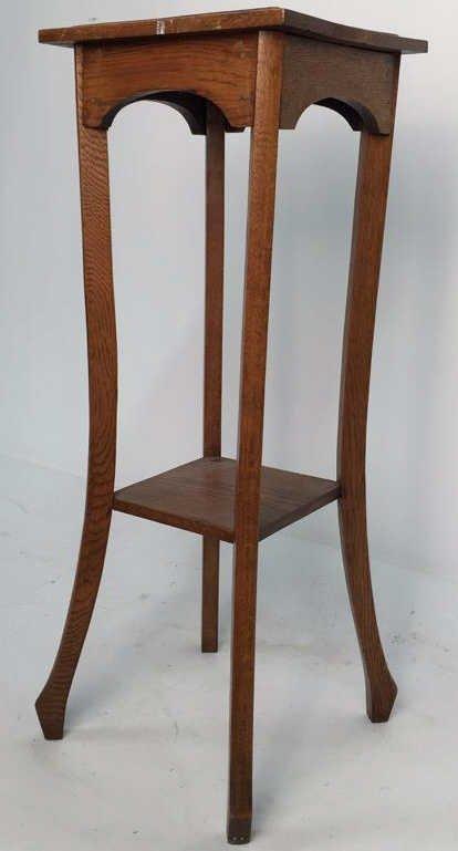 Vintage Oak Plant Stand Pedestal
