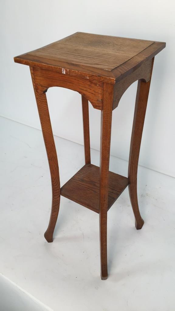 Vintage Oak Plant Stand Pedestal - 2