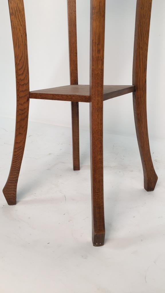 Vintage Oak Plant Stand Pedestal - 4