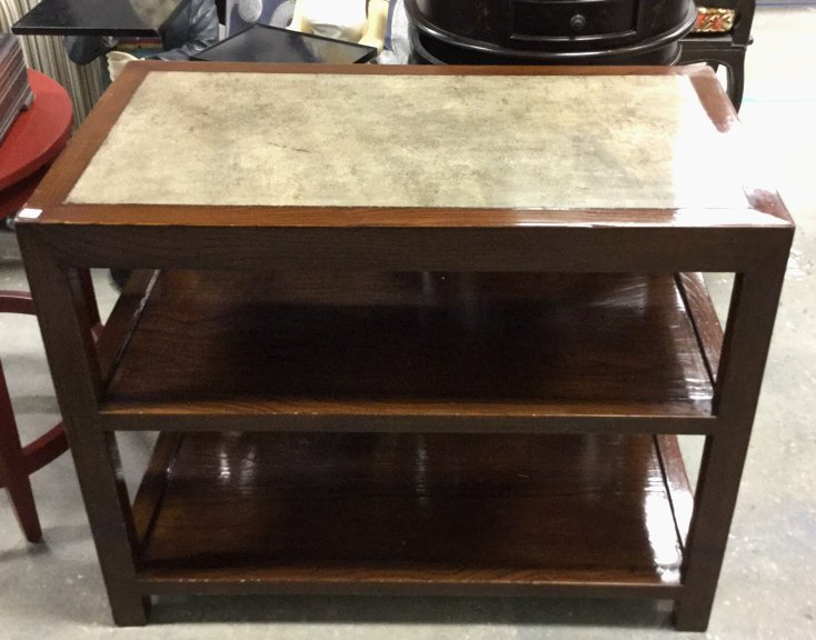 Style Wood Three Tier Side Table Stone Top