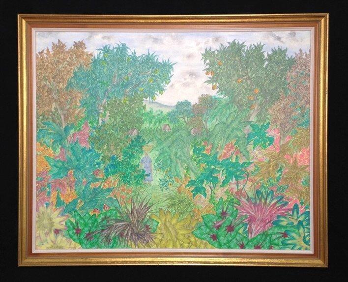 Vintage Gold Framed Jungle Painting