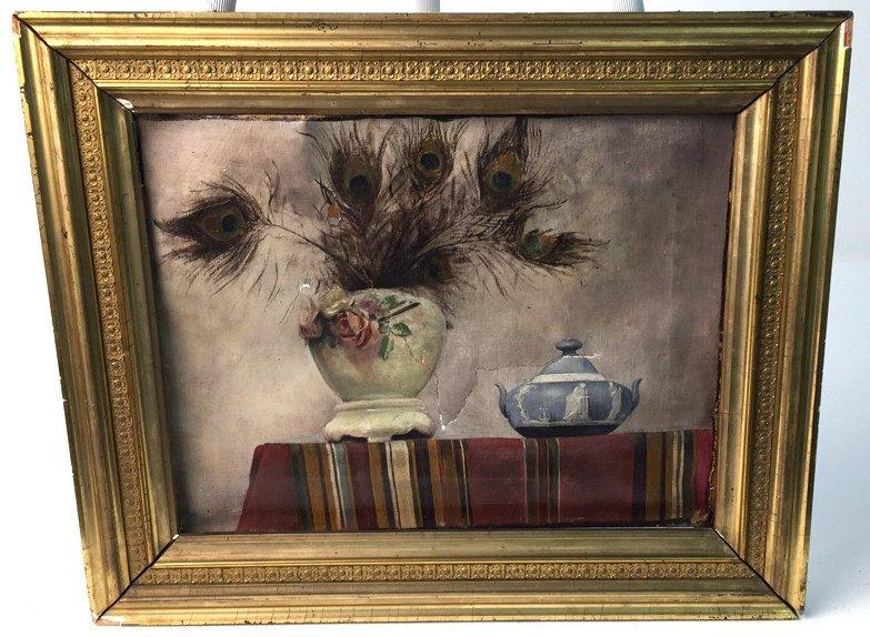 Antique Signed Illegibly Oil on Canvas Still Life