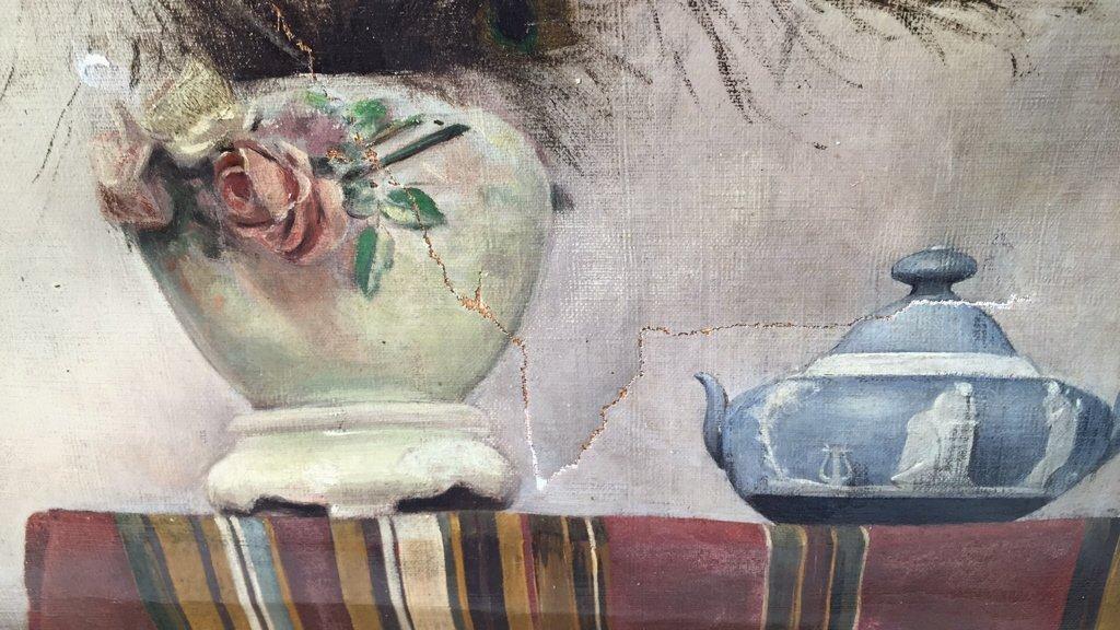 Antique Signed Illegibly Oil on Canvas Still Life - 2