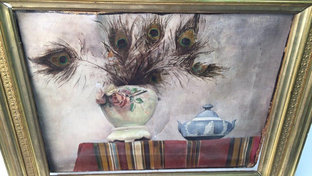 Antique Signed Illegibly Oil on Canvas Still Life - 8
