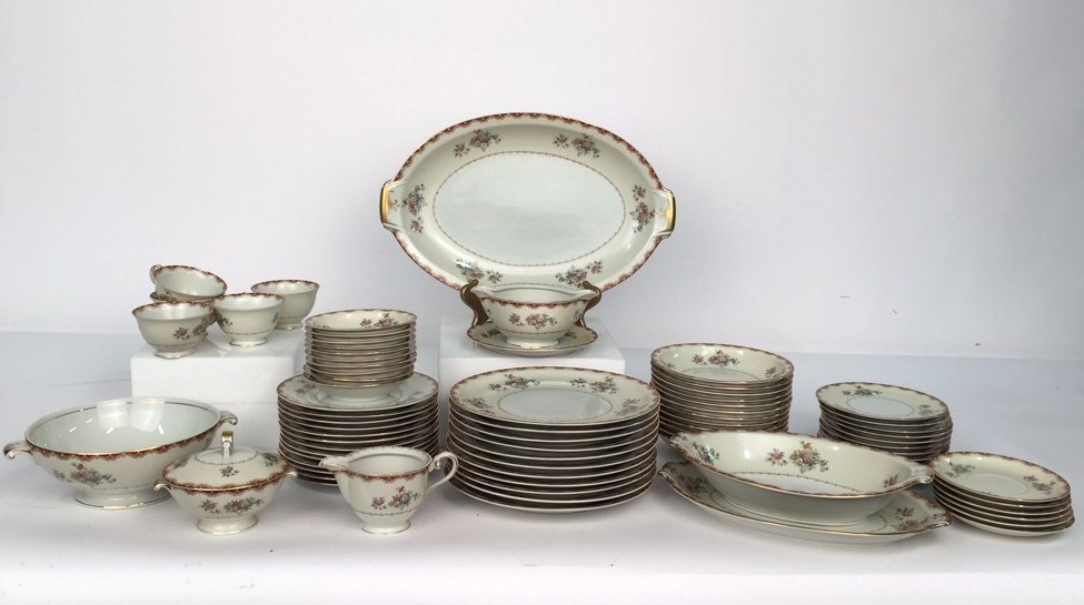 Partial Set MEITO CHINA Ivory Floral