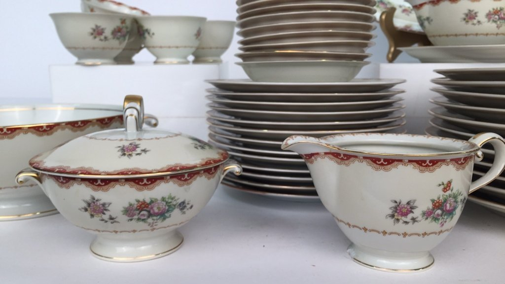 Partial Set MEITO CHINA Ivory Floral - 6