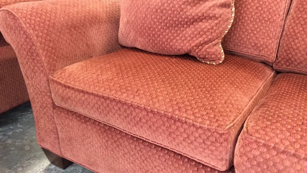 Set of Stickley Red Geometric Fabric Upholstered Sofas - 4