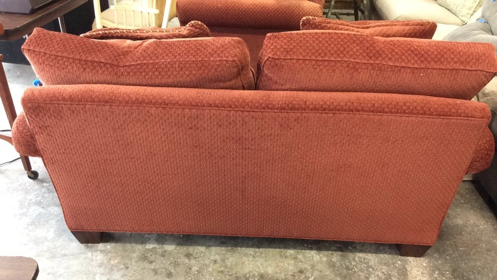 Set of Stickley Red Geometric Fabric Upholstered Sofas - 5