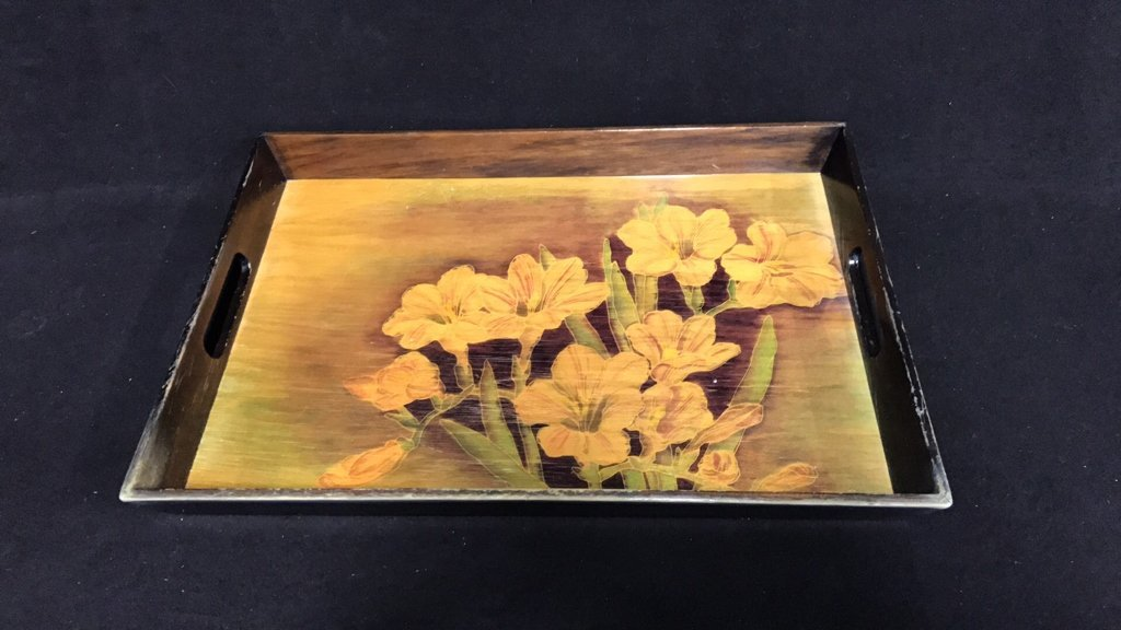 Ethan Allen Decorative Box & Floral Tray - 6
