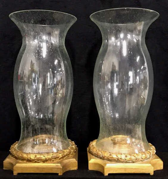 Pair Hurricane Lamps Candle Votive Style