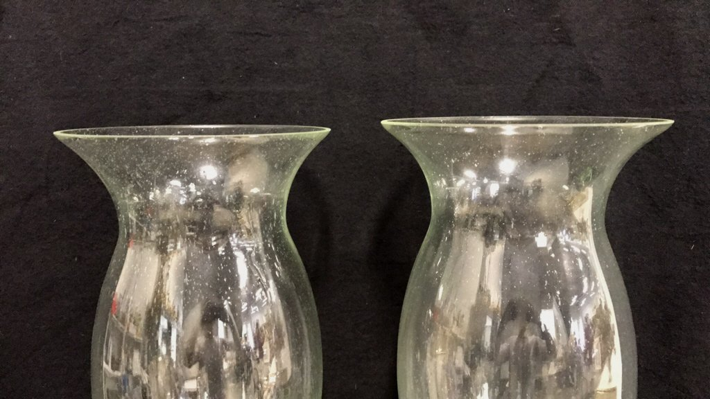 Pair Hurricane Lamps Candle Votive Style - 2