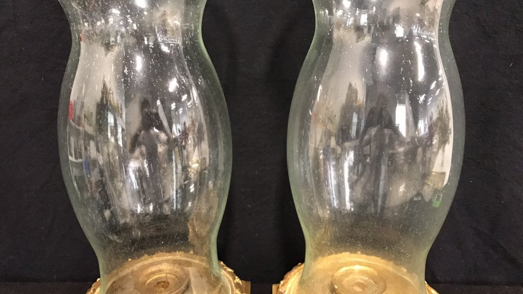 Pair Hurricane Lamps Candle Votive Style - 3
