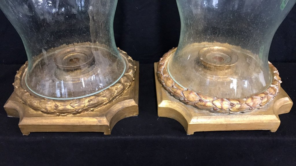 Pair Hurricane Lamps Candle Votive Style - 4