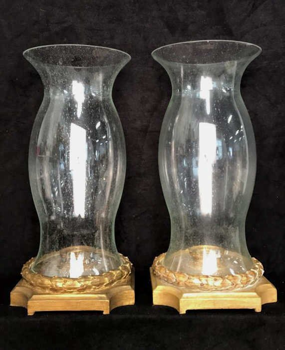 Pair Hurricane Lamps Candle Votive Style - 6