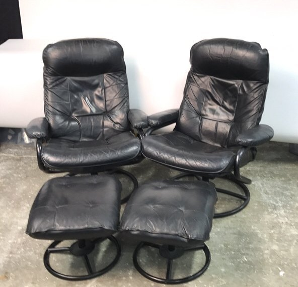 Pair CHAIRWORKS Reclining Arm Chairs w Ottomans