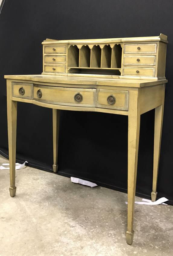 Vintage Petite Writing Desk Secretary Hutch - 2