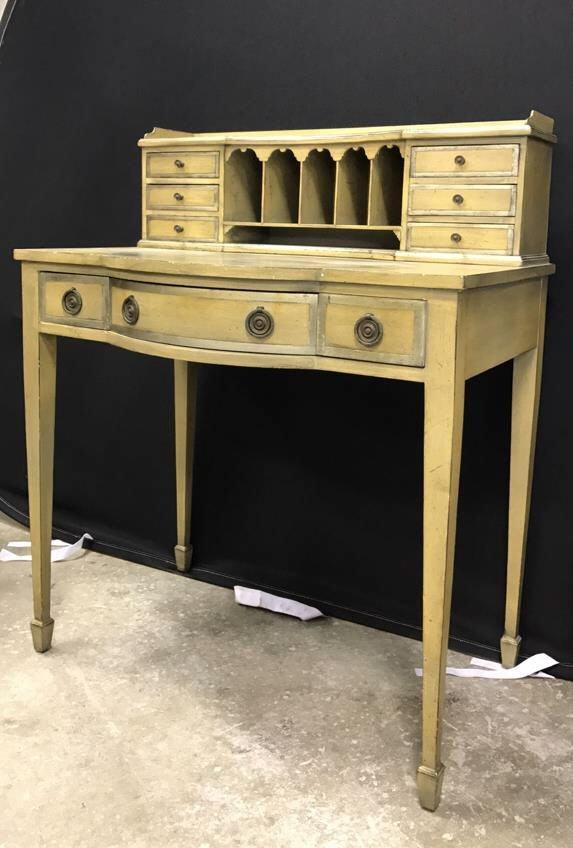 Vintage Petite Writing Desk Secretary Hutch - 2