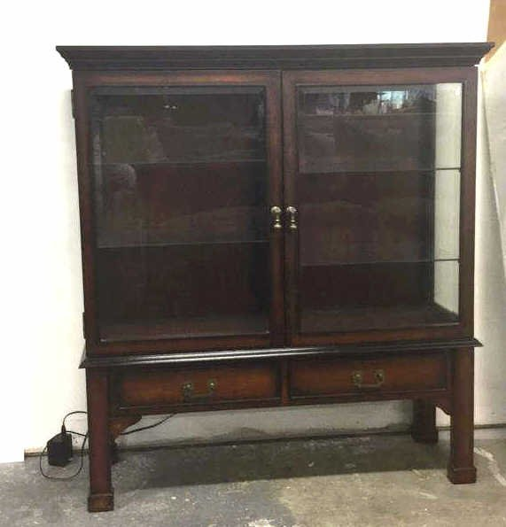 Vintage Wood & Glass Display Cabinet