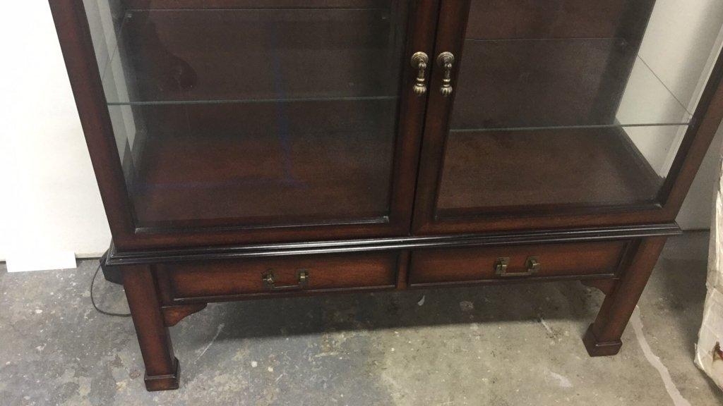 Vintage Wood & Glass Display Cabinet - 2