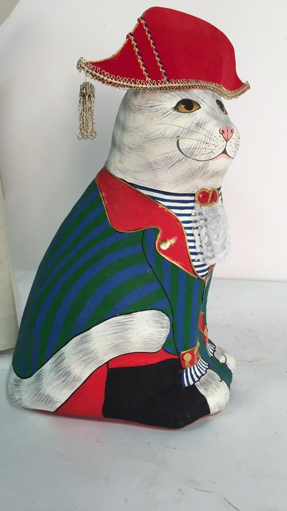 Hand Painted In Thailand Paper Mache Cat - 2