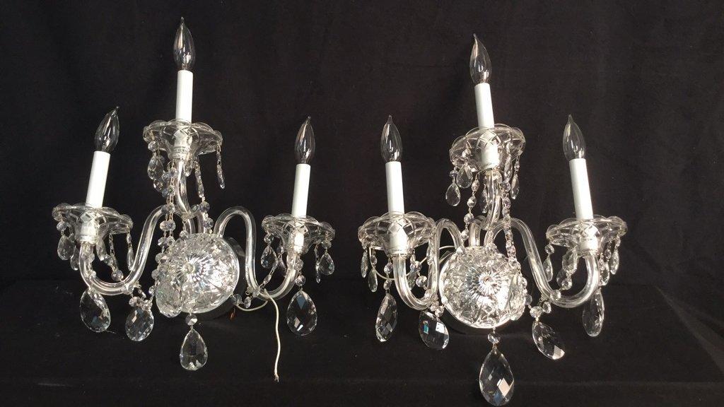 Pair Fine Crystal SCHONBEK Armed Candle Sconces
