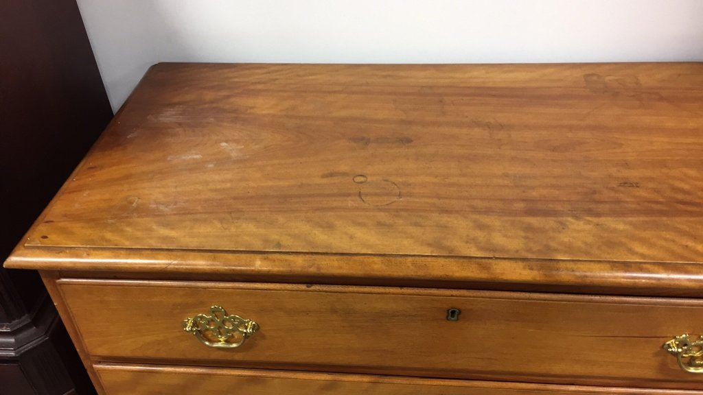 Antique Tiger's Eye Maple Chest with Four Drawers - 3