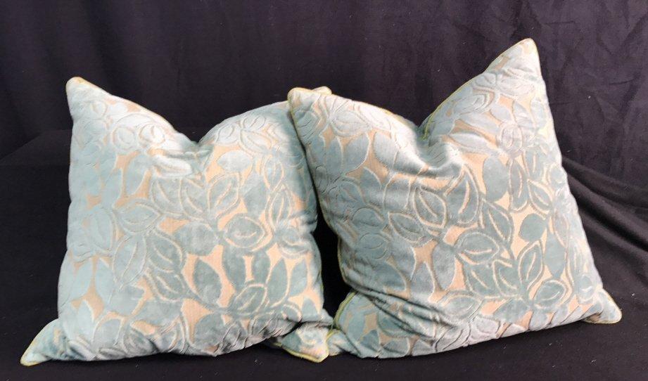Pair Custom Throw Pillows Leaf Motif