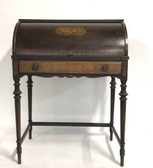 Antique Roll Top Hand Painted Secretary