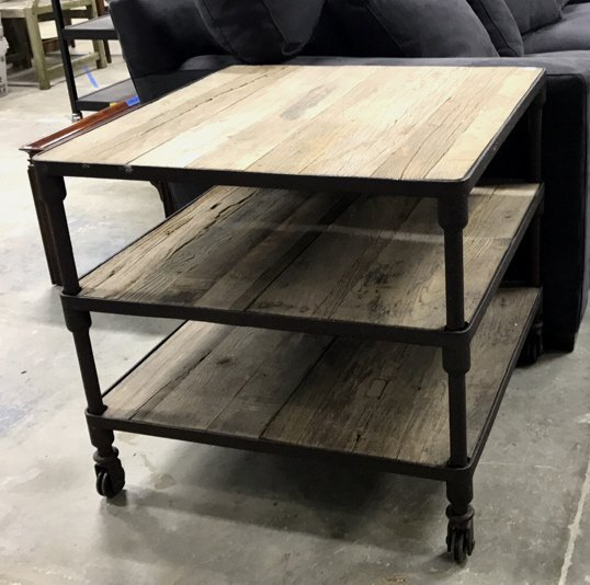 Industrial Modern Style Tiered Table on Casters
