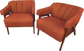 Pair Mid Century Modern Upholstered Armchairs
