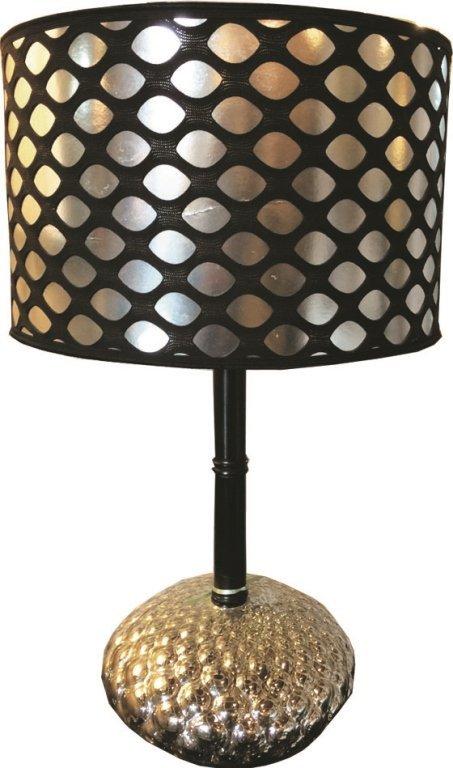 Vintage Black & Silver Fishnet Shade Table Lamp