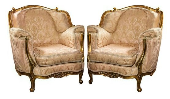 Pair C 1930's Gilt Wood Carved Bergere Arm Chairs
