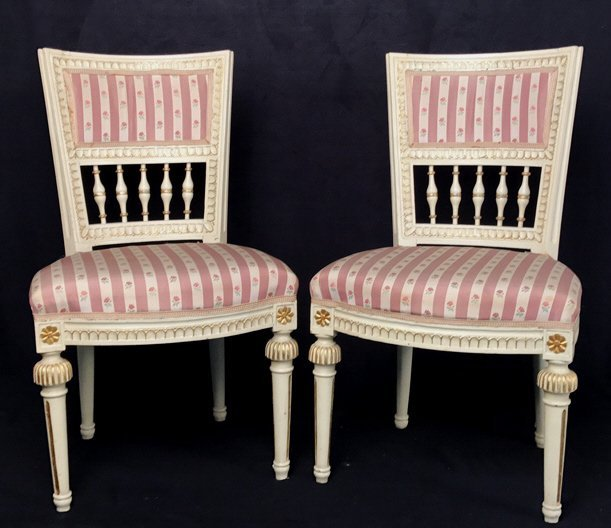 Pair Gilt Decorated JANSEN Style Side Chairs