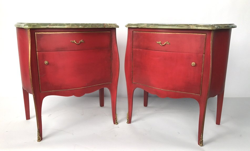 Pair Painted Onyx Top Red Side Tables